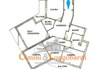 Appartamento con 3 camere e doppi servizi